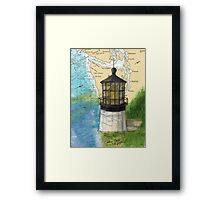 Cape Meares OR Lighthouse Nautical Map Cathy Peek Framed Print