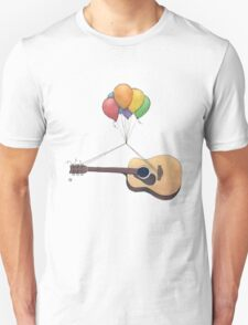Guitar Getting Carried Away by Balloons T-Shirt
