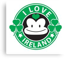I LOVE IRELAND funny monkey with shamrocks Canvas Print
