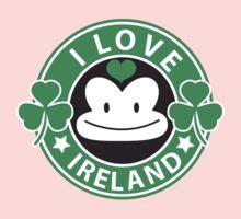 I LOVE IRELAND funny monkey with shamrocks One Piece - Short Sleeve