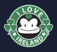 I LOVE IRELAND funny monkey with shamrocks Kids Tee