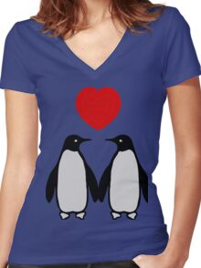 Penguins in love Women's Fitted V-Neck T-Shirt