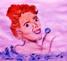 Love bubbles in my bath, watercolor by Anna  Lewis