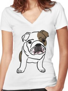dog / chien Women's Fitted V-Neck T-Shirt