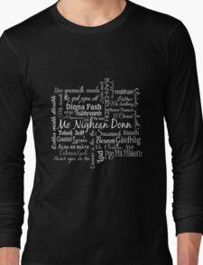 Gaelic/Scottish Word Cloud Logo-White Long Sleeve T-Shirt