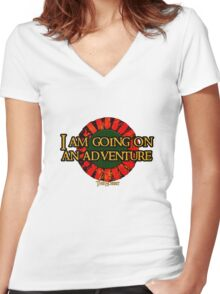 The Hobbit - I am going on an adventure! Women's Fitted V-Neck T-Shirt