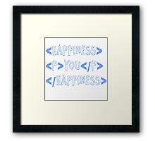 code happiness blue Framed Print