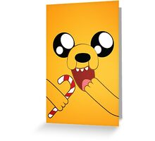 Adventure Time Jake Loves Candy Canes Greeting Card