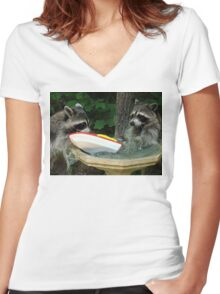 Raccoonzilla and Speeding Boat Women's Fitted V-Neck T-Shirt