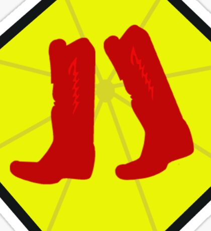 Red Boots and Yellow Umbrella Sticker