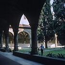 Gardener in Dominican Cloisters S Maria Novello Florence Italy 198407090006 by Fred Mitchell