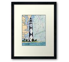 Cape Lookout Lighthouse NC Nautical Chart Peek Framed Print