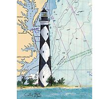 Cape Lookout Lighthouse NC Nautical Chart Peek Photographic Print