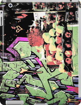 New York City graffiti and fruit stand retro grunge style by Mariannne Campolongo