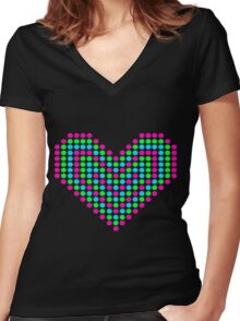Pixel Heart Women's Fitted V-Neck T-Shirt