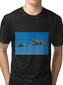 Hercules C-130 transport plane refuelling Tri-blend T-Shirt