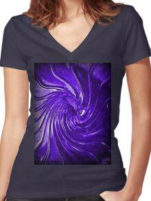 """Purple Swirl Martini Glass"" Women's Fitted V-Neck T-Shirt"