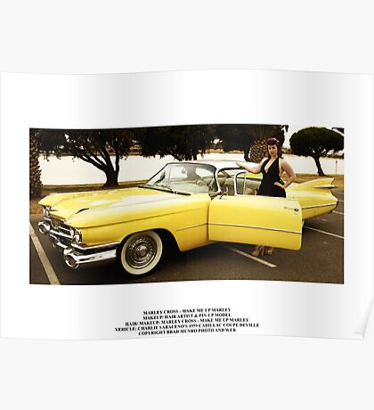 Marley Cross with Charlie Saraceno's 1959 Cadillac Coupe Deville Poster