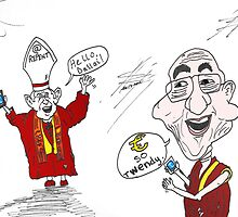 The pope and Dalai Lama twitter cartoon by Binary-Options