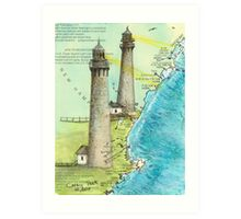 Cape Ann Lighthouse MA Nautical Chart Cathy Peek Art Print
