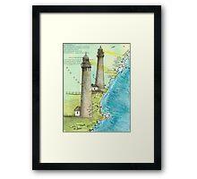 Cape Ann Lighthouse MA Nautical Chart Cathy Peek Framed Print