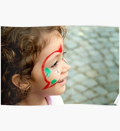 Little Girl With Face Paint  Poster