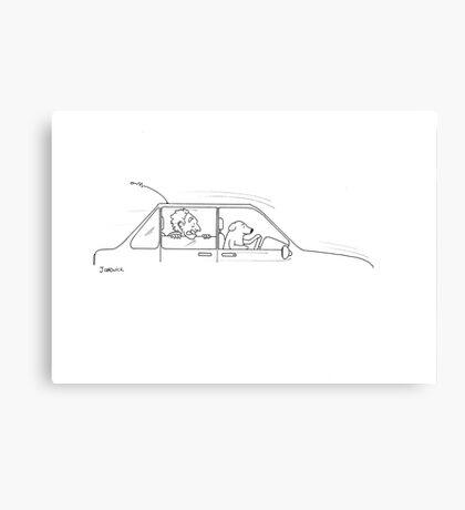 Dog Driving Canvas Print