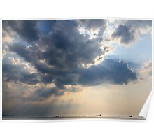 Sunrays scattered by clouds over Trieste Bay Poster