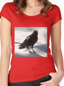 Crow on Snow Women's Fitted Scoop T-Shirt