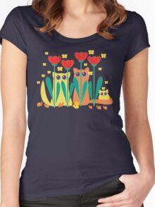 Rabble Of Butterflies In Tulip Garden Women's Fitted Scoop T-Shirt