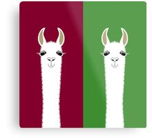 LLAMA PORTRAITS - RED & GREEN Metal Print