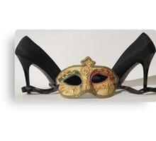 Black High Heels and Mask Canvas Print