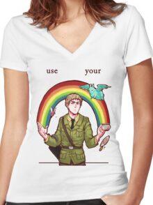 imagination Women's Fitted V-Neck T-Shirt