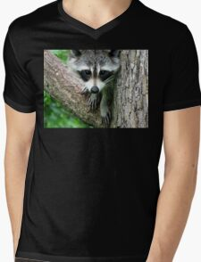 RACCOON PORTRAIT WITH PAWS & CLAWS  Mens V-Neck T-Shirt