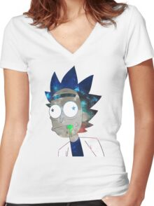 Space Rick Women's Fitted V-Neck T-Shirt