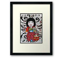 Ichimatsu ningyo, maneki neko and daruma doll  Framed Print