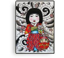 Ichimatsu ningyo, maneki neko and daruma doll  Canvas Print