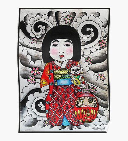 Ichimatsu ningyo, maneki neko and daruma doll  Poster