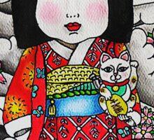 Ichimatsu ningyo, maneki neko and daruma doll  Sticker