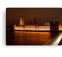 Houses of Parliament at Night from Westminster Bridge Canvas Print