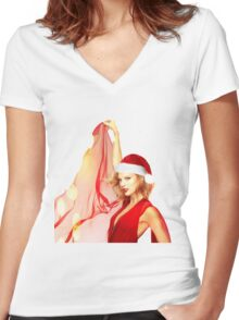 Merry Christmas Taylor Swift Women's Fitted V-Neck T-Shirt