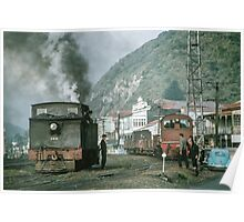 Steam engines Greymouth NZ (Feature Smoke Photog) 196503090099 Poster