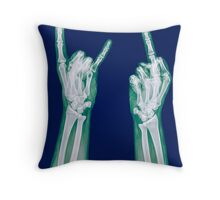 x-ray of a human hand making obscene hand gestures  Throw Pillow