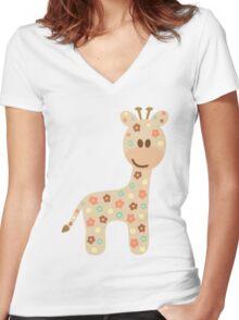 Baby giraffe Women's Fitted V-Neck T-Shirt