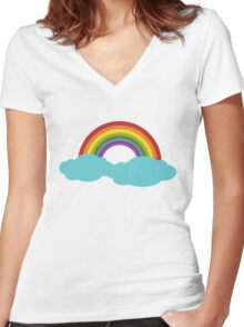 Rainbow with cloud Women's Fitted V-Neck T-Shirt