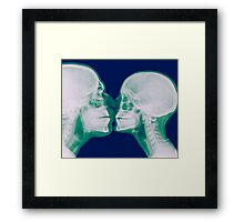 Kissing Couple. Two people kissing under x-ray  Framed Print