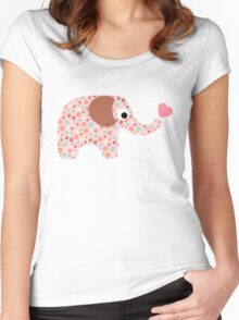 Elephant Seamless background Women's Fitted Scoop T-Shirt