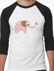 Elephant Seamless background Men's Baseball ¾ T-Shirt