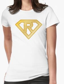 Golden superman letter Womens Fitted T-Shirt