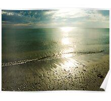 Beach at Sundown Poster